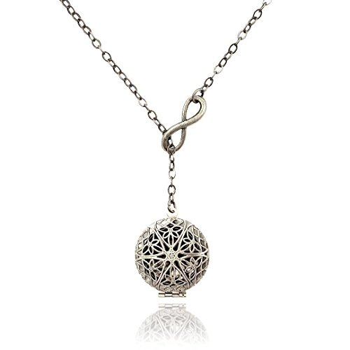 Infinity Eternity Silver Tone Handmade Lariat Aromatherapy Necklace Essential Oil Diffuser