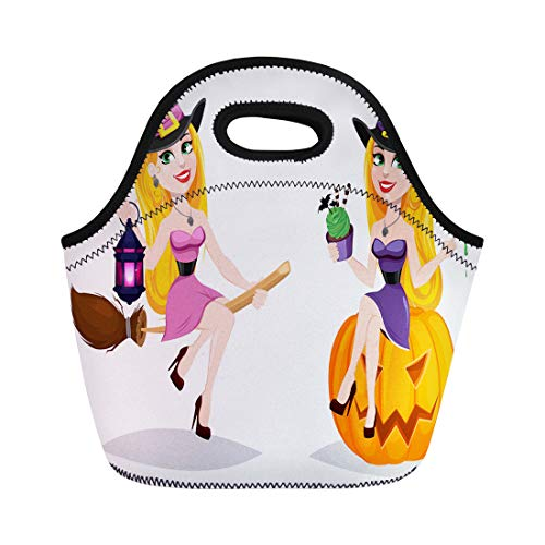 Semtomn Lunch Bags Halloween Cute Cartoon Character for Holiday Beautiful Lady Witch Neoprene Lunch Bag Lunchbox Tote Bag Portable Picnic Bag Cooler Bag -