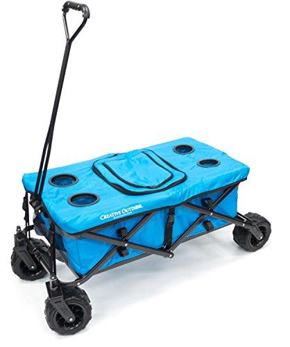 Creative Outdoor Distributor All-Terrain Folding Wagon Tabletop with Cooler Bag, Blue/Grey