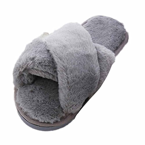 Womens Flat soft Fluffy Faux Fur Flat Slipper Flip Flop Winter Slip on Sandals Shoes open toe Grey jx0Uf