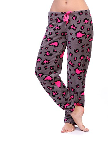 Cozy Pink Pajamas (Totally Pink Women's Warm and Cozy Plush Pajama Bottoms (Medium, Pink/Grey Leopard))