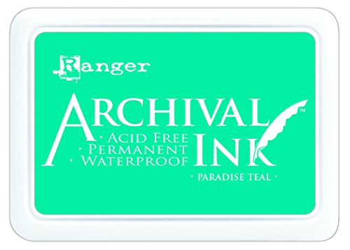 Teal Stamp Pad (Ranger AIP52500 Archival Ink Pad #0, Paradise Teal)