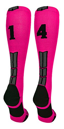 MadSportsStuff Neon Pink/Black Player Id Over The Calf Number Socks (#14, Small)