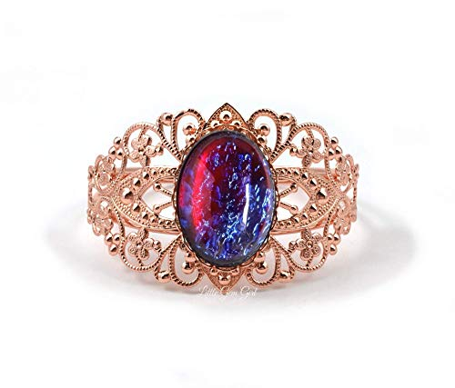 Mexican Fire Opal Dragons Breath Victorian Style Cuff Bracelet in Rose Gold, Antique Silver or Gold, Pewter, Gunmetal or Bright Silver ()
