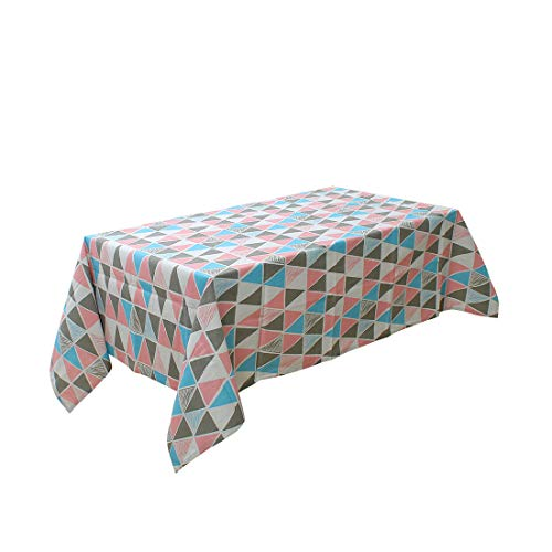 uxcell Pink and Blue Triangle Cotton Blends Rectangular Tablecloth Cover Water/Oil Stain Resistant 87 x 55 Inch for Wedding Dining Party Decor from uxcell