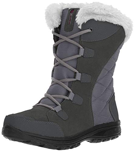 Columbia Women's ICE Maiden II Snow Boot, Shale, Dark Raspberry, 8.5 B US