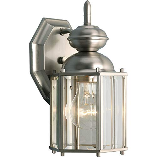 Single Brushed Nickel Light - Progress Lighting P5756-09 Wall Lantern with Beveled Glass Panels Open Bottom, Brushed Nickel