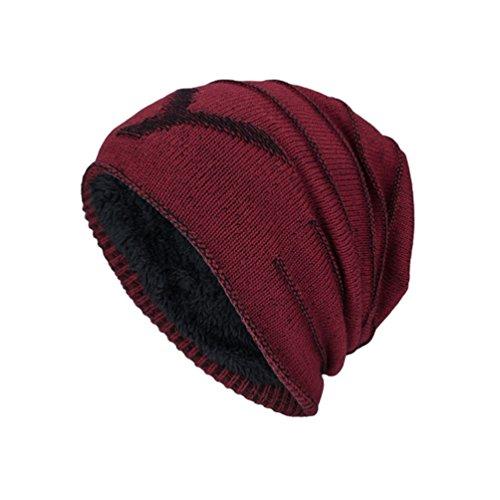 Cálido Invierno Diseño Atractivo Carta Adulto Rojo Hombre YiJee para Jacquard Punto Sombreros Vino Gorro de 8aaBxYq