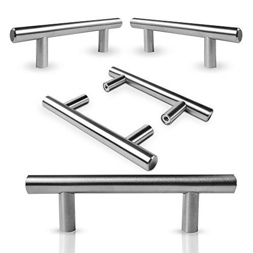 "Kitchen Cabinet Door Handle Set: Modern Satin Nickel Stainless Steel Handles For Cabinets, Cupboards and Drawers - Silver T-Bar Pulls With 2 Mounting Screw Sets - 5"" Length, 3"" Center - 30 Pack by SUPERIOR QUALITY HARDWARE"