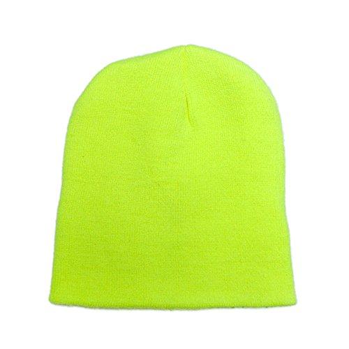 Acrylic Short Beanie (Opromo Hi-Viz, High Visibility Reflective Knit Short Acrylic Beanies Winter Hat-NeonYellow-2piece)