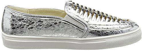 La Strada Silver Cracked Leather Look Slip-on - Alpargatas Mujer Plata