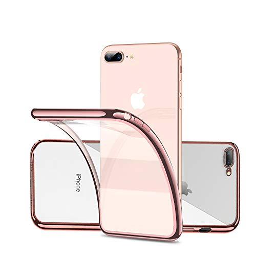 Clear Case Phone Cover for iPhone 7 Plus/8 Plus 7Plus 8Plus,Silicone Soft TPU with Rose Gold Frame/Transparent Back Lightweight Durable,Ultra Slim/Fit,Anti Yellow/Scratch/Fingerprint,for Women Girls
