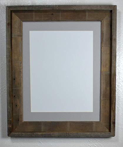 - 11x14 Frame Gray Mat to Display 8.5x11 Pictures Reclaimed Wood With Glass and Installed Hardware