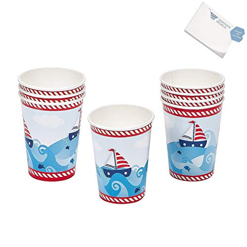 Bargain World 1st Birthday Sailor Cups (With Sticky Notes)
