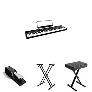 alesis recital 88 key beginner digital piano with full size semi weighted keys and. Black Bedroom Furniture Sets. Home Design Ideas