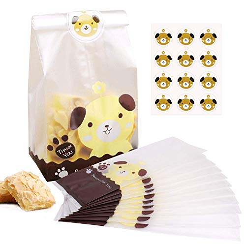 BBLIKE Candy Bags, Treat Cookie Bags 100PCS Lovely Party Favor Bags with 109Pcs Cute Dog Stickers, Clear Gift Bags Good for Bakery, Cookies, Candies,Chocolate
