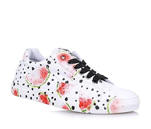 BE KOOL - Weißer Schuh mit Schnürsenkeln aus Leder, von der Welt der Street Art inspiriert, mit Metallösen, Mädchen, Damen