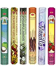 Hem Incense Sticks | 6 Boxes X 20 Sticks Each |Coconut,Strawberry Vanilla/Strawberry Jasmine, Pineapple Jasmine,Cinnamon,Vanilla & Strawberry| - Total 120 Sticks