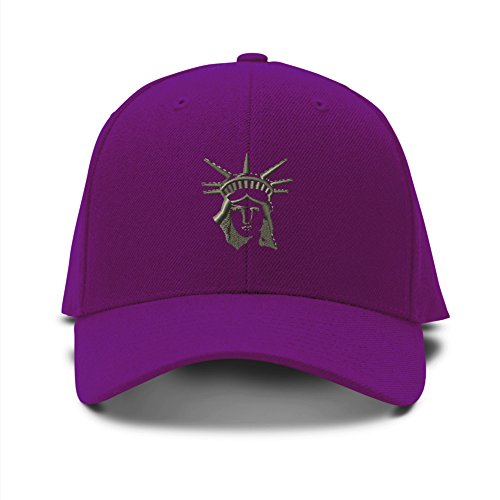 Statue Of Liberty Face Embroidery Embroidered Adjustable Hat Baseball Cap Purple