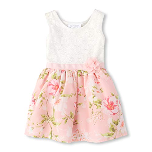 The Children's Place Baby Girls Special Occasion Printed Dress, Simplywht, -