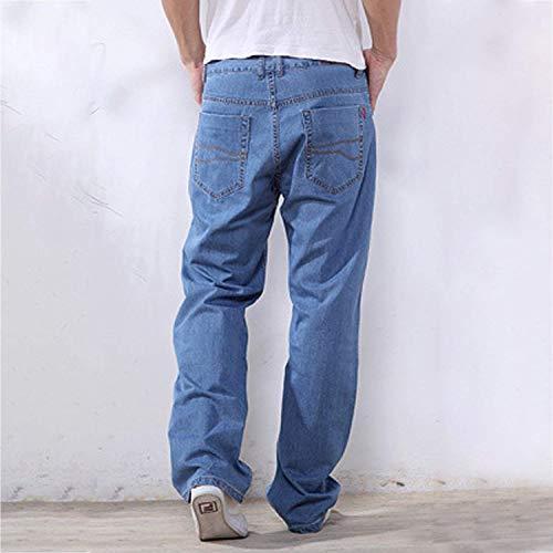 Regalar Moda Blu In Hellblau Comodo R Hren Denim Fit Dritta Da Uomo Jeans Pantaloni Usedlook Stretch Chiaro Gamba Battercake Leisure 4pTwvY