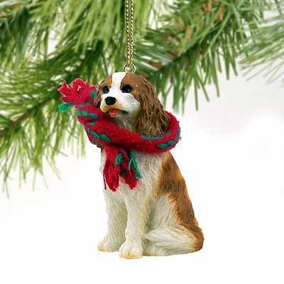 1 X Cavalier King Charles Spaniel Miniature Dog Ornament - Brown & (Miniature Cavalier King Charles Spaniel)