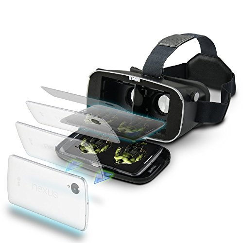3D VR Headset, Yove 3D Virtual Reality Headset with Adjustable Lens and Strap for iPhone 7 6 6s 5 5s 6splus Samsung S3 Edge Note 4 and 3.5-5.5 inch Smartphone for 3D adult Movies and 3D Games by yove (Image #1)