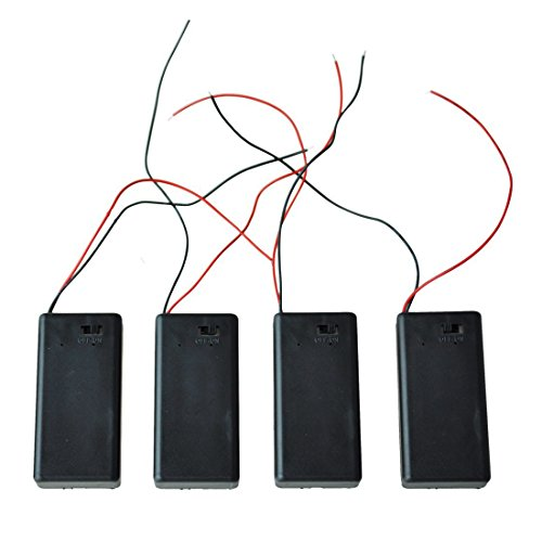 4 Pcs 9V Battery Case Holder with Cover Storage Case Holder with ON/OFF Switch for 6F22