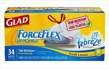 Glad 13 Gallon ForceFlex Odor Shield Fabreze Fresh Lemon Scent Drawstring Tall Kitchen Bags 34 ct (Pack of 6)