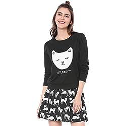 Allegra K Women's Cat Prints Round Neck Long Sleeves Top Shirt L Black