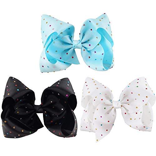 8inch Rhinestone Hair Bow Grosgrain Ribbon Boutique Hair Clip for Baby Girls Kids Teens Women Set Of 3