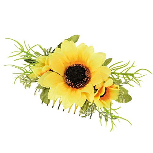 DreamLily Sunflower Hair Comb Wedding Bridal Yellow Flower Ranunculus Flower Comb Floral Clip Headpiece DFS03 (Yellow) ()