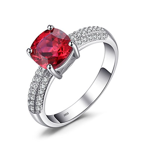 (JewelryPalace Cushion 2.6ct Created Red Ruby Solitaire Engagement Ring 925 Sterling Silver Size)