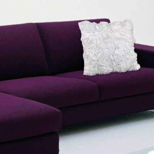 VivReal White Satin Rose Flower Square Pillow Cushion Pillow
