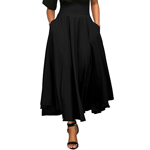Jessica CC Women' s High Waist Pleated A Line Midi Long Skirt Front Slit Belted Maxi Skirt S-XXL