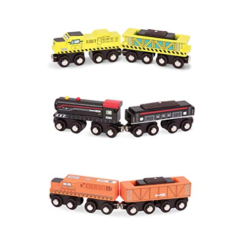 Battat - Wooden Locomotive & Freight Cars - Classic Wooden Toy Train Set with Locomotive & Cars for Kids & Collectors Aged 3 Years Old & Up (6Pc)