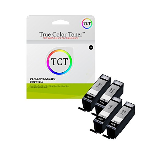 True Color Toner PGI-270 4 Pack PGI270 Pigment Black High Yield Compatible Ink Cartridge Replacement for Canon Pixma MG6821 MG6820 MG5720 MG7720 MG6822 MG5722 TS5020 TS6020 TS8020 Printers (500 Pages)