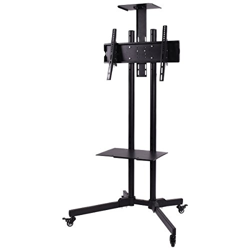 LHONE Black TV Cart for LCD LED Plasma Flat Panel Stand with Wheels Mobile fits 32