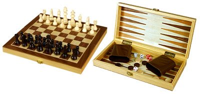 3-in-1 Wood Combination Chess, Checkers, and Backgammon Game Set With a Folding Carrying Case (Set Folding Wood Backgammon)