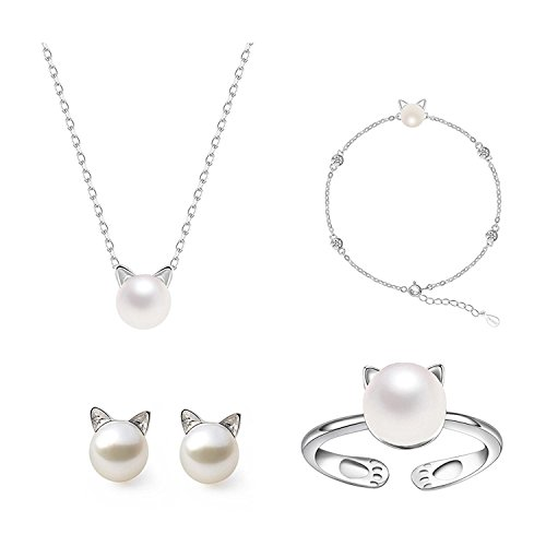 ISAACSONG.DESIGN 925 Sterling Silver Cat Eye Moonstone Apple/Cat Kitty Crystal Pearl Charms Pendant Necklace and Earring Set for Women (Cute Cat with Pearl 4 Pcs Set)