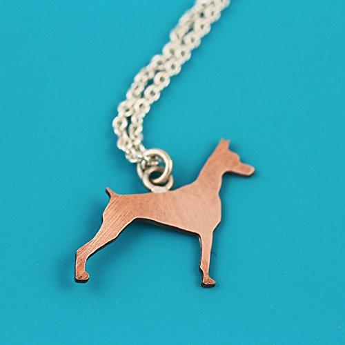 Doberman Pinscher Copper Silhouette Pendant on Sterling Chain