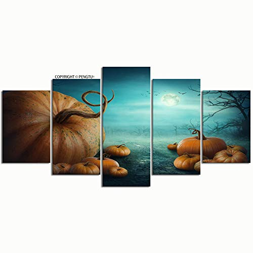 PENGTU Paintings Modern Canvas Painting Wall Art Pictures 5 Pieces Halloween Pumpkins Forest Wall Decor HD Printed Posters Frame