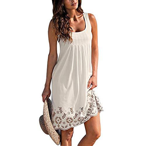 (JESPER Women Summer Sleeveless Beach Mini Vest Dress Vestido Casual Cute Empire Waist Dress White)