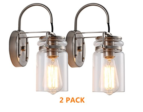 HOMIFORCE Vintage Style 2-Light Sconce Light Set of Two with Super-Thick Glass Shade Simplicity Industrial Retro Edison Fixture in Antique Nickel Finish CL2017091(Stephan Nickel) - Two Nickel Light Sconce