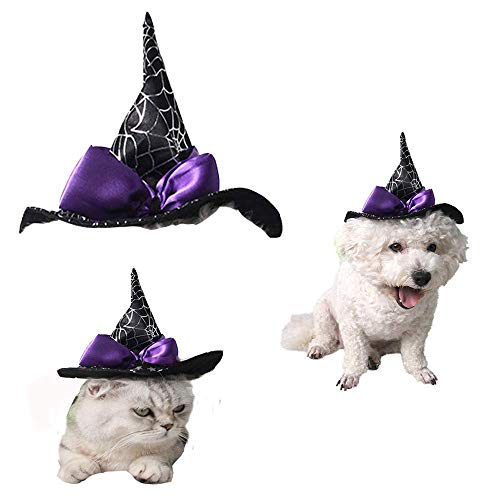 HXINFU Pet Halloween Wizard Hat Dog Hats for Halloween Hats for Cats 1pcs]()