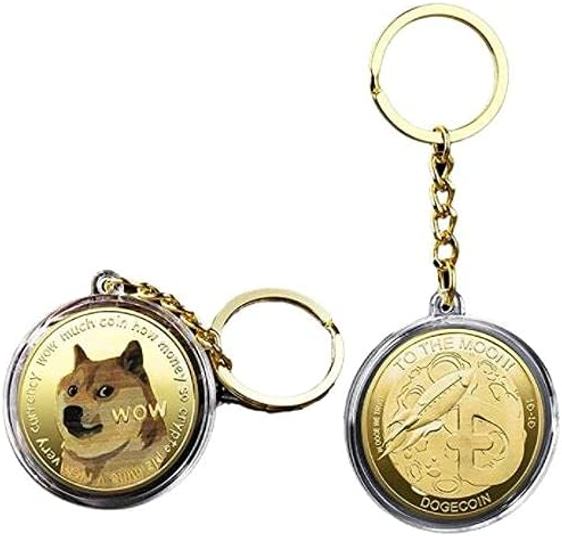 Gold DOGECOIN Keychain Cryptocurrency Coin To The Moon HODL Dogefather - PLAYFUL SHIBA INU - DOGE