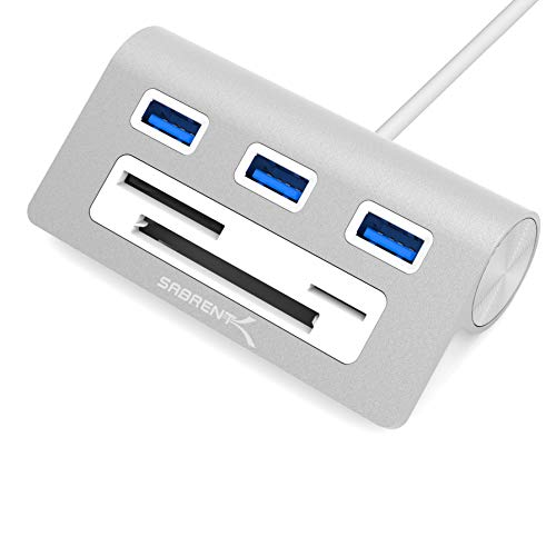 "Sabrent Premium 3 Port Aluminum USB 3.0 Hub with Multi-in-1 Card Reader (12"" Cable) for iMac, All MacBooks, Mac Mini, or Any PC (HB-MACR)"