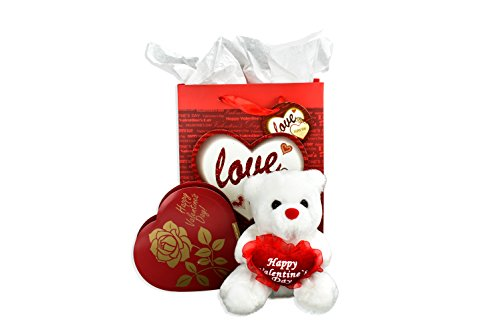 Small Happy Valentines Day Bear, Gift Bag And Heart Shaped Chocolates Bundle