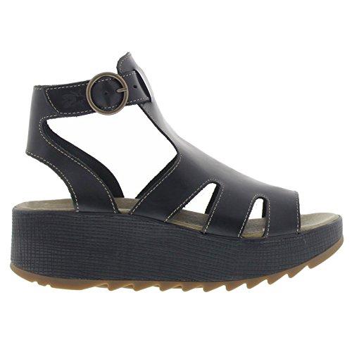 Fly London Womens KANE991FLY Platform Leather Sandals Black