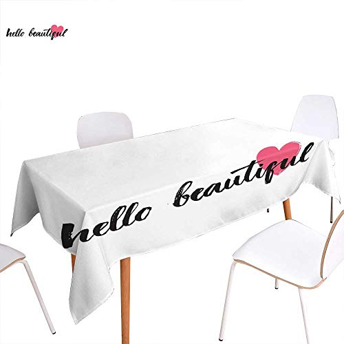 familytaste Hello Washable Tablecloth Calligraphy Motivational Phrase in Black Hand Written Style Font with Pink Heart Waterproof Tablecloths 60